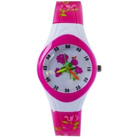 Creatror  Flower Pattern Silicone Strap-Dial-analog Children's Wrist Watch (Colour may vary sent as per availability)