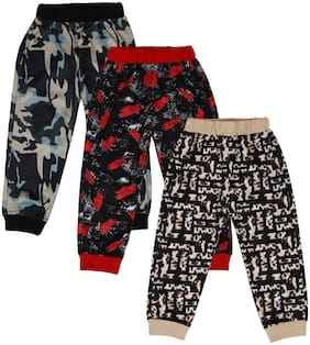 CREMLIN CLOTHING Cotton Blend Multi Printed Joggers For Boy