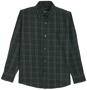 Crimsoune Club Boy Cotton Checked Shirt Green