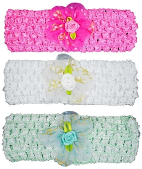 Crochet Cutwork Flower Baby Headband ( Pink , White , Green ) 3 pcs Set