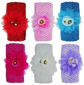Crochet Cutwork Flower Baby Headband ( Red, Pink, Blue, Pink, White, Purple ) 6 pcs Set