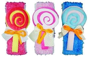 Crochet Cutwork Flower Baby Headband ( Blue , Peach , Pink ) 3 pcs Set