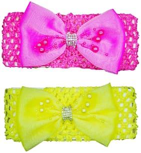 Crochet Cutwork Flower Baby Headband ( Yellow, Pink ) 2 pcs Set