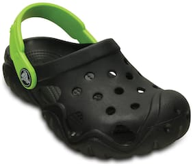 Crocs Girls Swiftwater Black & Volt Green Clog