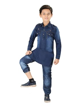 CRUNCHY NEXT GENERATION CHOICE Boy Denim Solid Kurta pyjama set - Blue