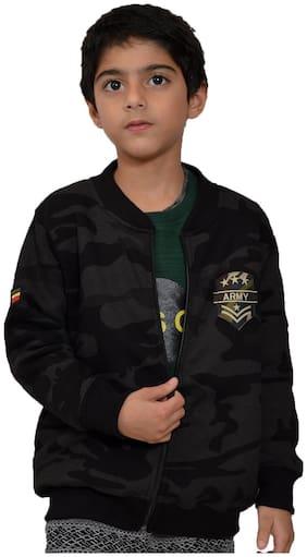 CH CRUX & HUNTER Boy Wool blended Solid Winter jacket - Black