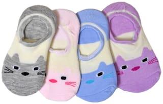 Crux&hunter cotton unisex laofer cum no show socks pack of 4 Multi