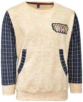 CH CRUX & HUNTER Boy Wool blended Solid Sweatshirt - Beige