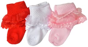 Crux&hunter cotton frilled party socks pack of 3 Multi