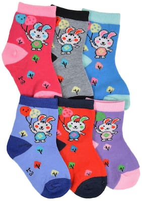 Crux&hunter cotton ankle kids socks pack of 6(2-4 years of kids)