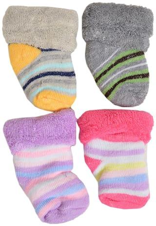 Crux&hunter woollen socks for kids pack of 4 (3-12 months)
