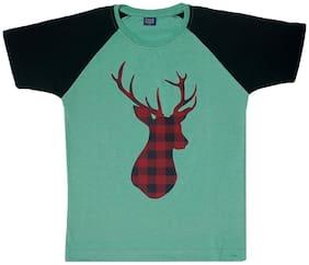 CH CRUX & HUNTER Boy Cotton Printed T-shirt - Green
