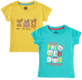 CuB McPAWS Girl Cotton Printed T shirt - Blue & Yellow