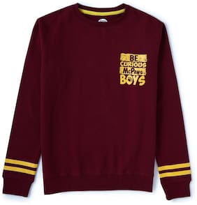 CuB McPAWS Boy Cotton blend Solid Sweatshirt - Maroon