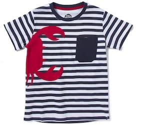 CuB McPAWS Boy Cotton Striped T-shirt - Blue & White