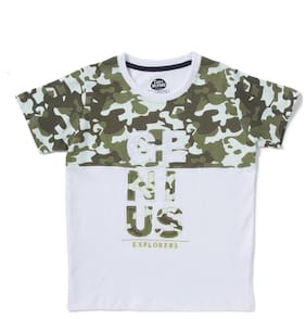 CuB McPAWS Boy Cotton Printed T-shirt - White & Green