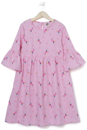 CuB McPAWS Cotton blend Printed Frock - Pink
