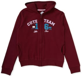 CuB McPAWS Girl Cotton blend Printed Sweatshirt - Maroon