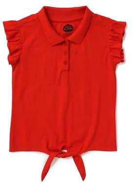 CuB McPAWS Girl Cotton Printed T shirt - Red