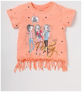 CuB McPAWS Girl Cotton Printed Top - Orange