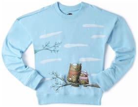 CuB McPAWS Girl Cotton Printed Sweatshirt - Blue