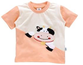 Cuddledoo Cotton Printed T shirt for Baby Boy - Orange