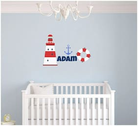 Custom Name Anchor Lighthouse & Lifeboat Nautical Theme Wall Decal for Nursery