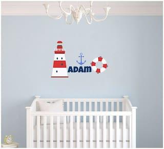 Custom Name Anchor Lighthouse & Lifeboat Nautical Theme Wall Decal for Nursery