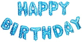 Cute Blue HAPPY BIRTHDAY Letters Foil Balloons For Birthday Party-Set of 13letters