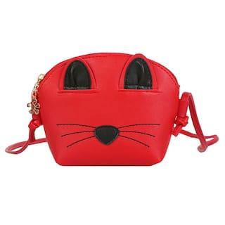 60380130640d Cute Cat Messenger Small Bag Girl Crossbody Shoulder Kids Women Handbag Red
