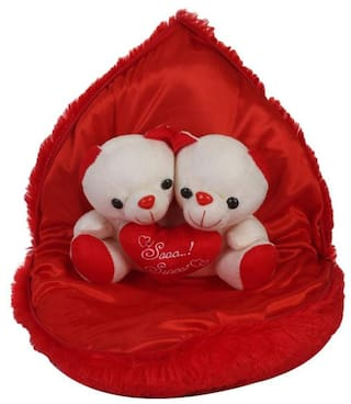 Cute Couple In Heart With Teddy Couple Inside For Valentines Or Special Day