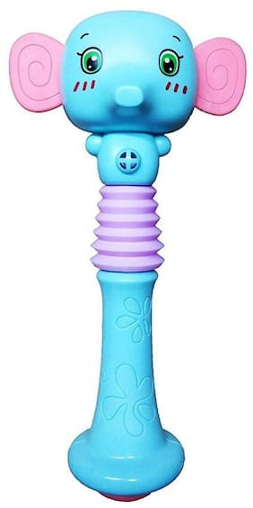 Shanaya Cute Elephant Face Shaking Squeezable Baby Rattle Toy for Your Little Ones - (Multicolor)