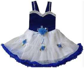 Cute Fashion Kids Girls Baby Princess Blue Velvet Party Wear Flower Dresses Skirt Clothes 2 - 3 Years
