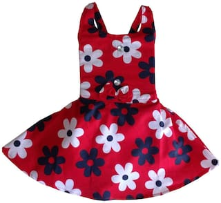 MPC Baby girl Cotton Solid Princess frock - Red