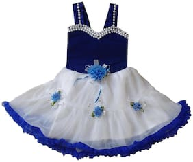 Cute Fashion Kids Girls Baby Princess Blue Valvet Party Wear Flower Dresses Skirt Clothes