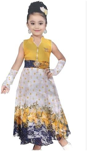 MPC Yellow Velvet Sleeveless Above Knee Princess Frock ( Pack of 1 )