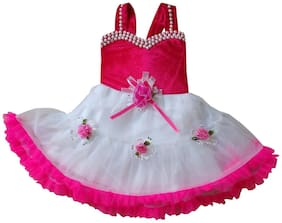 MPC Baby girl Blended Solid Princess frock - Pink