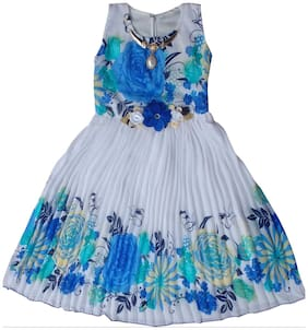 MPC Baby girl Blended Solid Princess frock - Blue