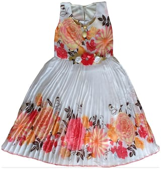 MPC Baby girl Blended Solid Princess frock - Orange