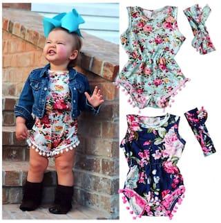 d16bb25886a Cute Newborn Baby Girls Floral Bodysuit Romper Jumpsuit Sunsuit Outfits  Clothes 0-24M