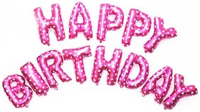 Cute Pink HAPPY BIRTHDAY Letters Foil Balloons For Birthday Party-Set of 13letters