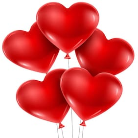 Cute Red Heart Shape Balloons Party Balloons for Birthday Parties, anniversary and festivals pack of 50Pcs