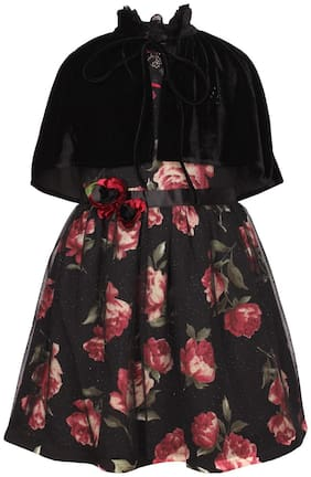 Cutecumber Baby girl Polyester Solid Princess frock - Black
