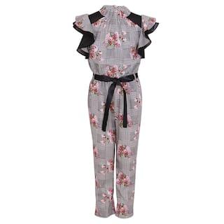 Cutecumber Georgette Floral Bodysuit For Girl - Black