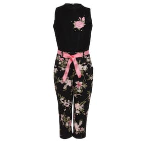 Cutecumber Polyester Floral Bodysuit For Girl - Black
