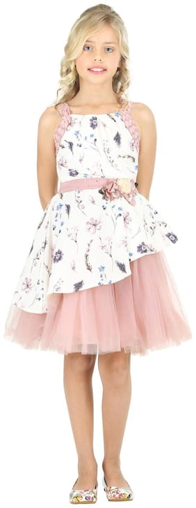 Cutecumber Pink Crepe Sleeveless Knee Length Princess Frock ( Pack of 1 )