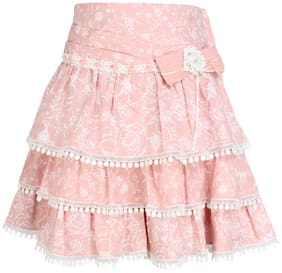 Cutecumber Girl Cotton Floral Tiered skirt - Pink