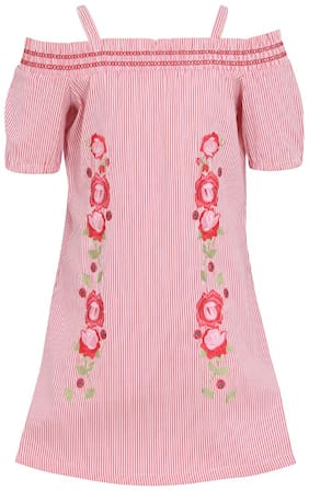 Cutecumber Pink Cotton Short Sleeves Knee Length Princess Frock ( Pack of 1 )