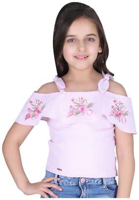 Cutecumber Girl Cotton Striped Top - Pink