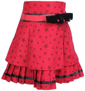 Cutecumber Girl Polyester Floral A- line skirt - Red